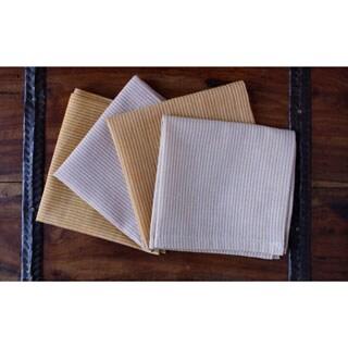 Set of 4 Hand-woven Striped Honey Napkins (India)