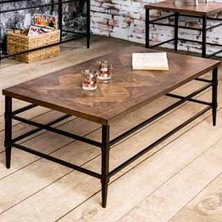 Furniture of America Colegate Light Oak Industrial Coffee Table