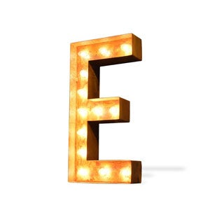 Letter E Rusted Finish Iconic Marquee Sign