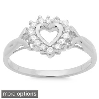 Sterling Essentials Silver Cubic Zirconia Open Heart Ring