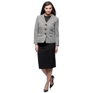 Evan Picone Women's Black and Ivory Tweed Skirt Suit
