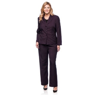 Evan Picone Women's Plus Size Plum Melange Pant Suit