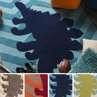 Hand-Tufted Dinosaur Geometric Polyester Rug (5' x 8')
