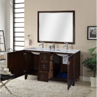 Carrara White Marble Top Double Sink Bathroom Vanity