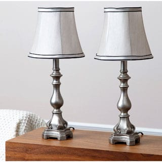 ABBYSON LIVING Davis Silvertone Resin Table Lamp (Set of 2)