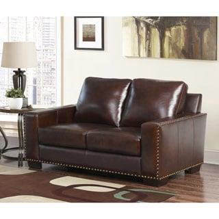 ABBYSON LIVING Barrington Hand-rubbed Top-grain Leather Loveseat