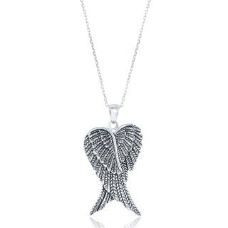 La Preciosa Sterling Silver Double Angel Wings Heart-shaped Pendant