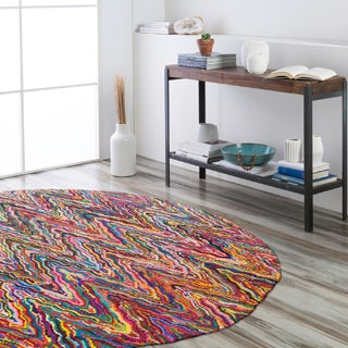 Hand-Hooked Pamela Multi-Colored Cotton/ Polyester Rug (8' Round)