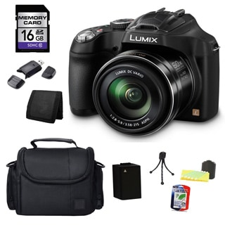 Panasonic Lumix DMC-FZ70 16MP Black Digital Camera and 16GB SD Card Bundle