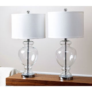 ABBYSON LIVING Burnham Clear Glass Table Lamp (Set of 2)