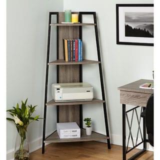 Simple Living Seneca Black/ Grey Metal Corner Shelf