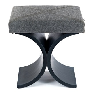 Couef Label Giana Flannel Flint Stool with Pull-out Shelf