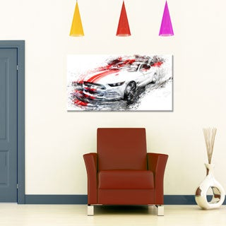White and Red Sports Car Small Gallery Wrapped Canvas