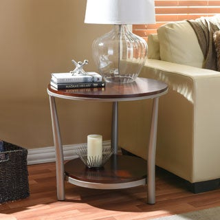 Baxton Studio Halo Wood and Metal Contemporary End Table Regular