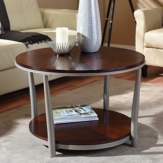 Perfect ... Carlisle Walnut Charcoal Grey Round Coffee Table ...