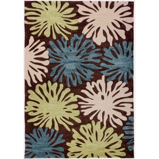 Space Dyed Cut Pile Hand-Tufted Fireworks Modern Wave Terra Brown Blue Green Abstract Geometric Polyester Rug (3'6 x 5'6)