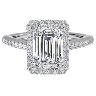 14k White Gold 3/4ct TDW Halo Emerald Diamond Engagement Ring (H-I, VS1-VS2)