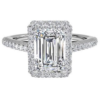 14k White Gold 1 1/2Ct TDW Halo Emerald Cut Diamond Engagement Ring (H-I, VS1-VS2)