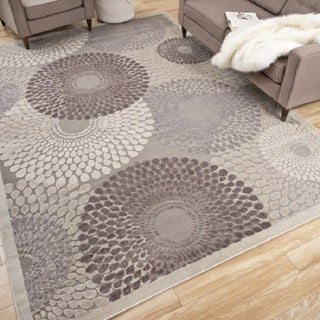 Nourison Graphic Illusions Grey Geometric Rug (5'3 x 7'5)