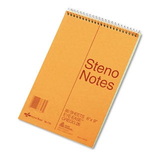 National Brand Standard Spiral Steno Book, Gregg Rule, 6 x 9, Green, 80 Sheets (Pack of 10)