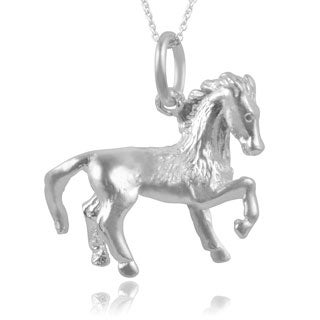 Journee Collection Sterling Silver Horse Pose Pendant