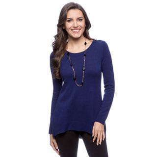 Ply Cashmere Women's Constellation Long Sleeve Scoop Neck Hi-low Pullover