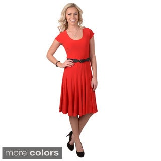 Timeless Comfort by Journee Women's Cap Sleeve Belted A-line Dress