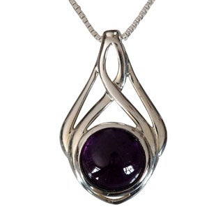 Sterling Silver Round Cabochon Amethyst Celtic Design Necklace (Thailand)