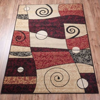Well Woven Malibu Abstract Squiggle Color Block Red, Beige, Ivory, and Green Area Rug (8'2 x 9'10)