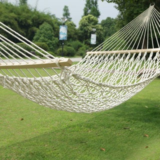 Adeco Single Person Spreader Bar Woven Rope Hammock