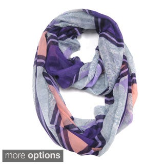 Le Nom Women's Lace Pattern With Color Block Infinity Scarf