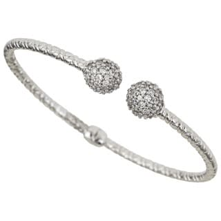 Sterling Silver Wire Bracelet with Cubic Zirconia Links