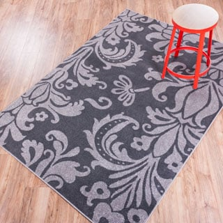 Well Woven Mano Shades of Grey Damask Charcoal Polypropylene Rug (5'3 x 7'3)