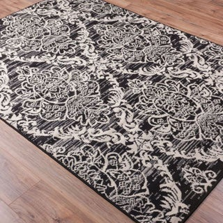 Well Woven Malibu Lattice Damask Black Ivory Polypropylene Rug (5' x 7')