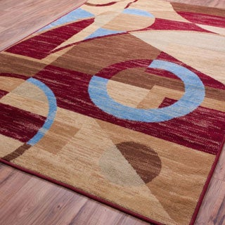 Well-woven Malibu Art Decor Modern Red, Blue, Beige, Green, and Brown Polypropylene Rug (5' x 7')