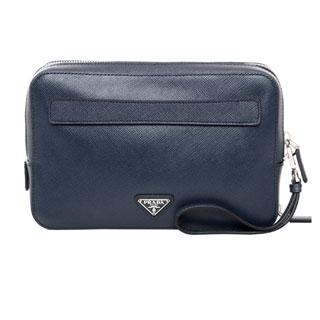 Prada Navy Saffiano Leather Travel Bag