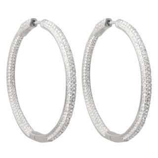Luxiro Sterling Silver Pave Cubic Zirconia 45mm Hoop Earrings