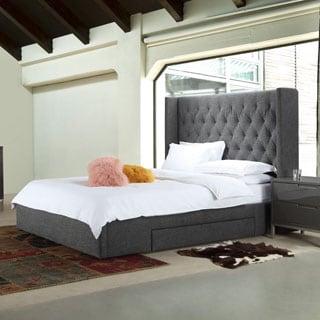 Aurelle Home Daphne Grey Upholstered Stoarge Bed