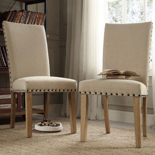 INSPIRE Q Aberdeen Beige Upholstered Nail head Parson Chair (Set of 2)
