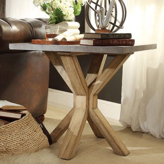 INSPIRE Q Aberdeen Industrial Zinc Top Weathered Oak Trestle End Table