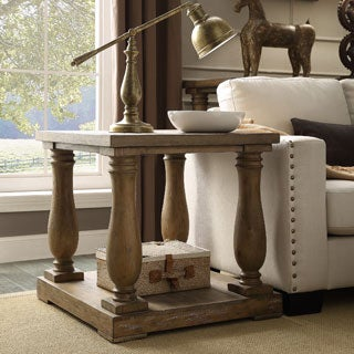 INSPIRE Q Edmaire Rustic Baluster Weathered Pine End Table