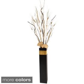 Art Deco Black Floor Vase and Palms Arrangement