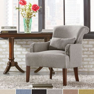 INSPIRE Q Washington Nailhead Roll Back Upholstered Sleigh Club Chair with Pillow