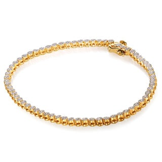 Annello Yellow Goldplated Silver 1/2ct TDW Diamond Bracelet (H-I, I1-I2)