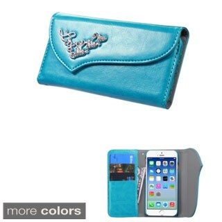 Insten Leather Phone Case Cover with Wallet Flap Pouch/ Diamond For Apple iPhone 6