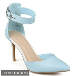 Journee Collection Women's 'Tulip' Patent Ankle Strap Pumps