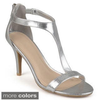 Journee Collection Women's 'Juniper' Open Toe T-Strap Pumps
