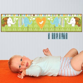 Green Elephant Peel and Stick Baby Growth Chart