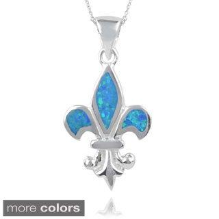 Journee Collection Sterling Silver Opal Handcrafted Fleur-de-lis Pendant