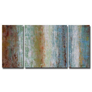 Hand-painted Oil 'Abstract 644' 3-piece Gallery-wrapped Canvas Art Set